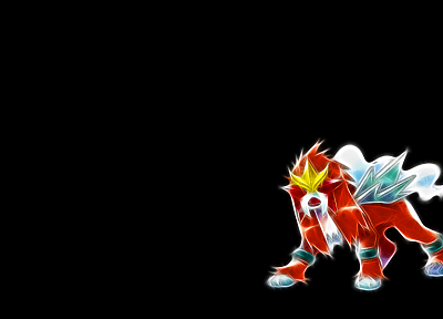 Pokemon, Entei, black background - random desktop wallpaper