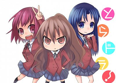 school uniforms, Aisaka Taiga, Kushieda Minori, Toradora, Kawashima Ami, simple background - random desktop wallpaper