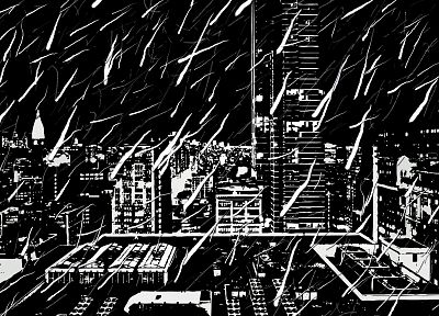 black and white, cityscapes, artwork - random desktop wallpaper