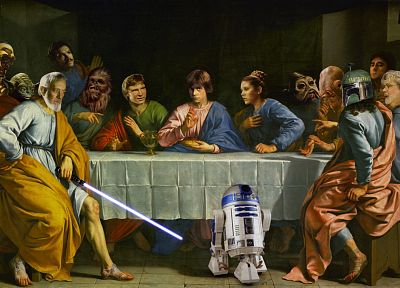 Star Wars, C3PO, R2D2, Luke Skywalker, The Last Supper, Han Solo, Chewbacca, Leia Organa, Yoda, Jango Fett, George Lucas, Obi-Wan Kenobi - related desktop wallpaper