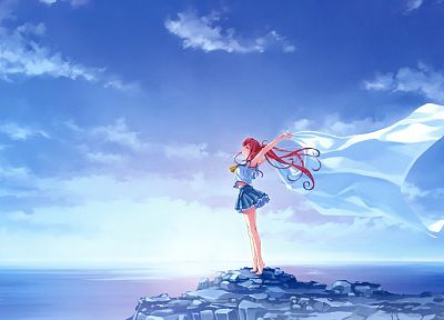 water, redheads, skirts, skyscapes, Misaki Kurehito, anime girls, Suiheisen made Nan Mile?, Miyamae Tomoka - random desktop wallpaper
