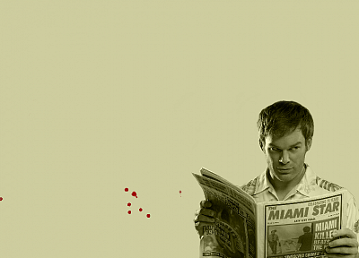 minimalistic, Dexter, monochrome, Michael C. Hall, newspapers, simple background, Dexter Morgan - random desktop wallpaper