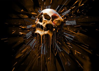 skulls, clocks, gold, shattered, time, dripping - random desktop wallpaper
