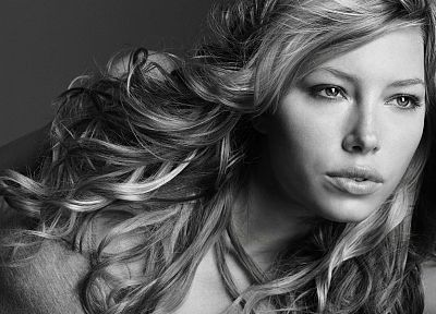 women, actress, Jessica Biel, grayscale, monochrome - random desktop wallpaper