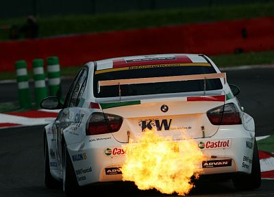 BMW, flame, wtcc - random desktop wallpaper