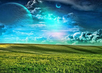 clouds, planets, grass - desktop wallpaper