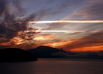 sunset, clouds, landscapes, Canada, British Columbia, bay - desktop wallpaper