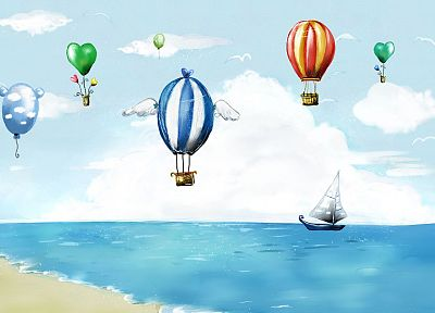 clouds, digital art, artwork, hot air balloons, hearts, balloons, sea - related desktop wallpaper
