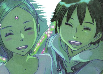 Eureka Seven, Eureka (character), Renton Thurston, fantasy art, smiling, artwork - related desktop wallpaper
