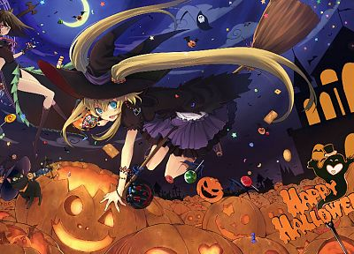 brunettes, blondes, Halloween, magic, brooms, Jack O Lantern, candies, pumpkins, witches - related desktop wallpaper