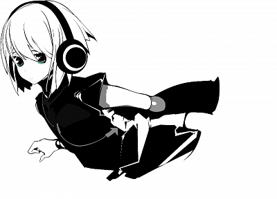 headphones, Beatmania, simple background, anime girls - random desktop wallpaper