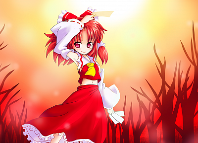 Touhou, Miko, Hakurei Reimu, detached sleeves, games - desktop wallpaper