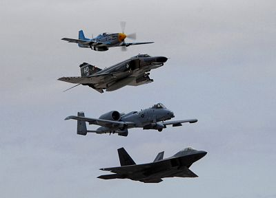 aircraft, military, F-22 Raptor, F-4 Phantom II, A-10 Thunderbolt II, time, P-51 Mustang - related desktop wallpaper