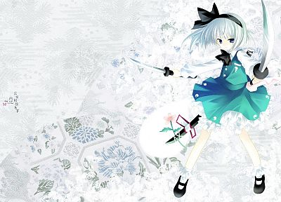 Touhou, weapons, Konpaku Youmu, games - desktop wallpaper