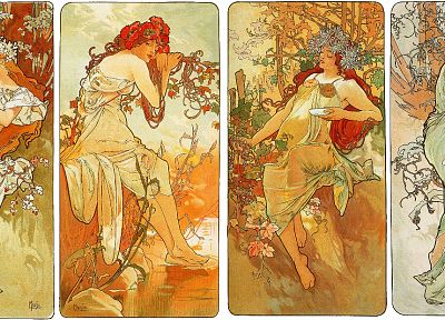 Alphonse Mucha, artwork, Art Nouveau - random desktop wallpaper
