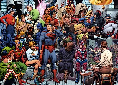 DC Comics, comics, Superman, superheroes, Power Girl, The Flash, Justice Society of America - random desktop wallpaper