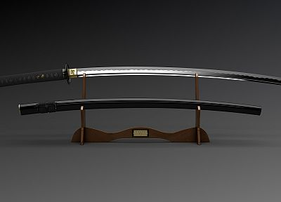 katana, blade, 3D modeling, swords - related desktop wallpaper