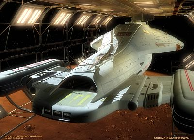 outer space, dock, Star Trek, USS Voyager - random desktop wallpaper