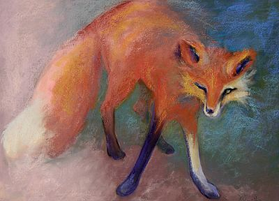 paintings, foxes - random desktop wallpaper
