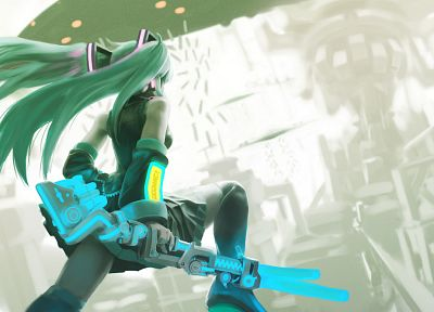 war, Vocaloid, back, Hatsune Miku, skirts, long hair, weapons, thigh highs, green hair, twintails, detached sleeves - related desktop wallpaper