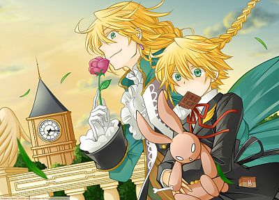 blondes, flowers, chocolate, outdoors, green eyes, Pandora Hearts, stuffed animals, anime, anime boys, Oz Vessalius, Jack Vessalius - related desktop wallpaper