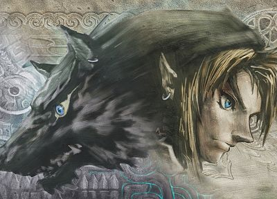 Link, The Legend of Zelda, artwork, The Legend of Zelda: Twilight Princess, wolves - random desktop wallpaper