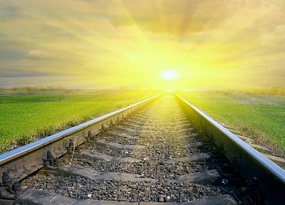 sunrise, trains, railroad tracks, vehicles, railroads - desktop wallpaper