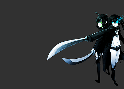 Black Rock Shooter, green eyes, anime, simple background, anime girls, glowing eyes, Black Devil Girl, swords - related desktop wallpaper