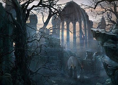 ruins, forests, architecture, Gothic, robes, artwork, Raphael Lacoste - random desktop wallpaper