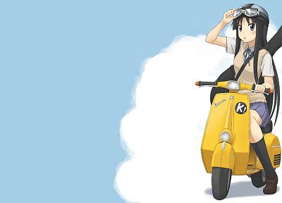 K-ON!, FLCL Fooly Cooly, Akiyama Mio, scooters, anime, anime girls, knee socks - random desktop wallpaper