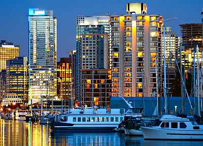 cityscapes, night, buildings, sea - related desktop wallpaper