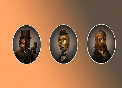 Star Wars, C3PO, Boba Fett, Chewbacca, victorian, steam punk - random desktop wallpaper