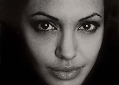 Angelina Jolie, monochrome, faces, greyscale - random desktop wallpaper
