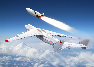 aircraft, Soviet, Antonov An-225, Buran shuttle, blue skies - desktop wallpaper