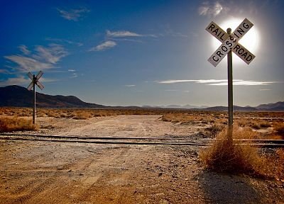 mountains, landscapes, nature, deserts, railroad tracks, railroads - related desktop wallpaper
