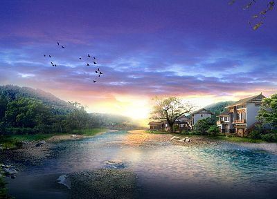 landscapes, houses, creek - random desktop wallpaper