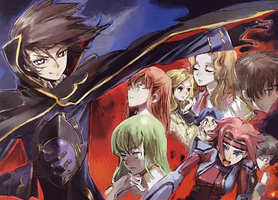 Code Geass, Kururugi Suzaku, Stadtfeld Kallen, Lamperouge Nunnally, Lamperouge Lelouch, C.C., anime, Fenette Shirley, Nina Einstein, Rivalz Cardemonde, Ashford Milly - random desktop wallpaper