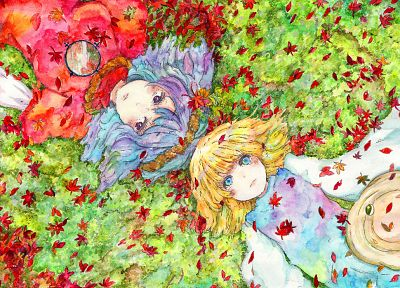 blondes, Touhou, dress, mirrors, leaves, grass, blue hair, Goddess, short hair, Mountain of Faith, Moriya Suwako, red dress, lying down, maple leaf, purple eyes, aqua eyes, Yasaka Kanako, hats, ropes, games, hair ornaments - related desktop wallpaper