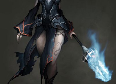 RPG, Aion, fantasy art, armor, magic, short hair, artwork, staff - related desktop wallpaper