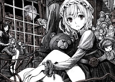 Touhou, monochrome, dolls, Flandre Scarlet, Koakuma, Patchouli Knowledge - desktop wallpaper