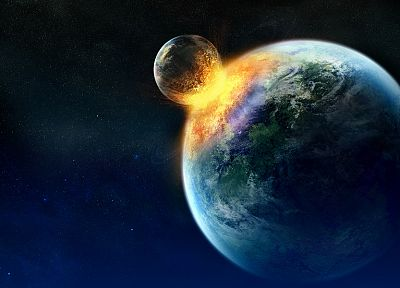 outer space, planets, Moon, Earth, crash - desktop wallpaper