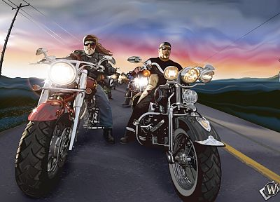 fantasy art, route 66, motorbikes - random desktop wallpaper