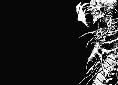 horror, minimalistic, grayscale, skeletons, manga, bones, biomega, black background - related desktop wallpaper