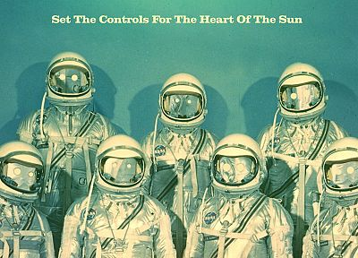 Sun, text, shadows, astronauts, blue background, Matei Apostolescu - related desktop wallpaper