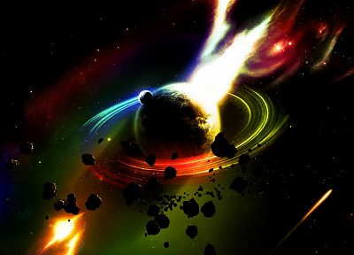 outer space, multicolor, planets, asteroids - related desktop wallpaper
