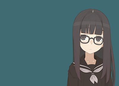 school uniforms, glasses, meganekko, simple background, anime girls - random desktop wallpaper
