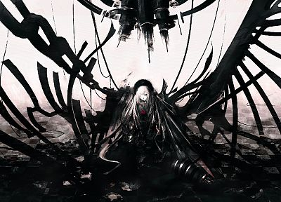 abstract, futuristic, dystopia, Rozen Maiden, Suigintou, monochrome, Iori Yakatabako - related desktop wallpaper