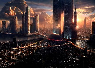 futuristic, cities - random desktop wallpaper