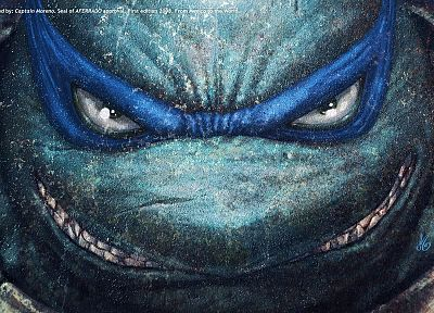 comics, Teenage Mutant Ninja Turtles, Leonardo, faces - random desktop wallpaper