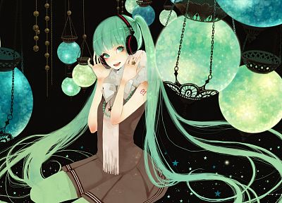 headphones, Vocaloid, Hatsune Miku, long hair, green eyes, green hair, anime girls - related desktop wallpaper